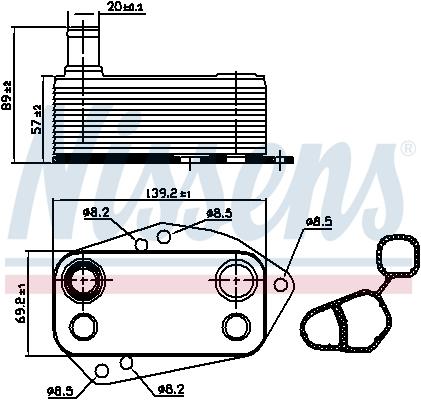 Slika NISSENS - 90890 - Uljni hladnjak, ulje za motor (Podmazivanje)