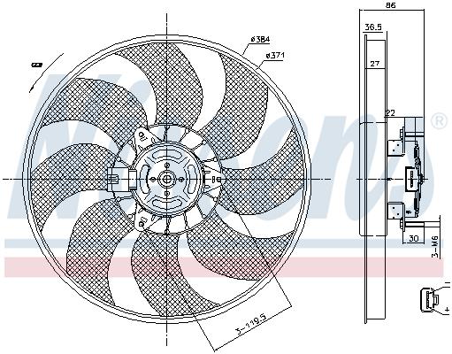 Slika NISSENS - 85779 - Ventilator, hlađenje motora (Hlađenje)