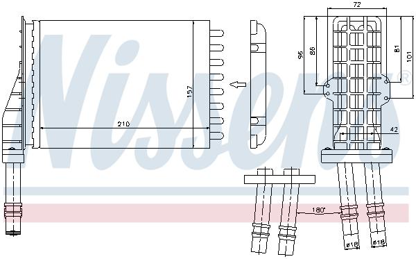 Slika NISSENS - 73258 - Izmenjivač toplote, grejanje unutrašnjeg prostora (Grejanje/ventilacija)