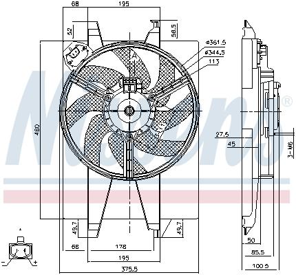 Slika NISSENS - 85767 - Ventilator, hlađenje motora (Hlađenje)