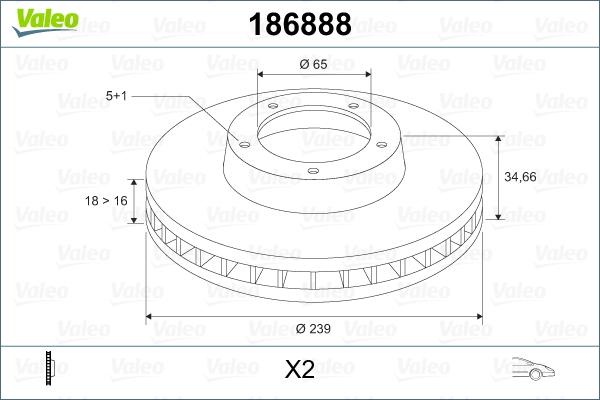 Slika VALEO - 186888 - Kočioni disk (Kočioni uređaj)