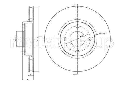 Slika METELLI - 23-0498 - Kočioni disk (Kočioni uređaj)