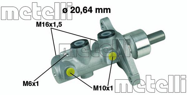 Slika METELLI - 05-0346 - Glavni kočioni cilindar (Kočioni uređaj)