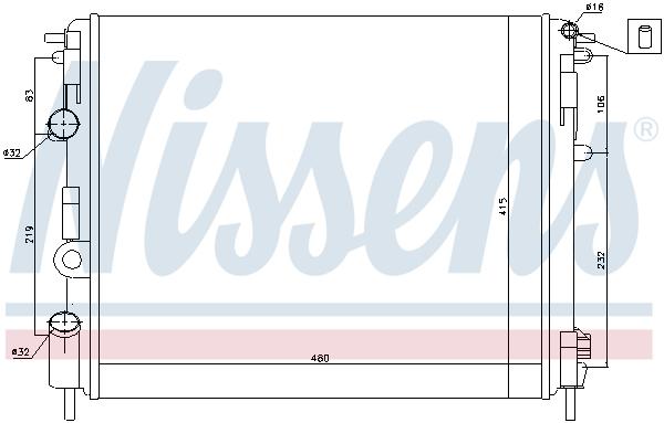 Slika NISSENS - 638081 - Hladnjak, hlađenje motora (Hlađenje)