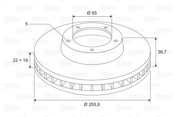 Slika VALEO - 186603 - Kočioni disk (Kočioni uređaj)