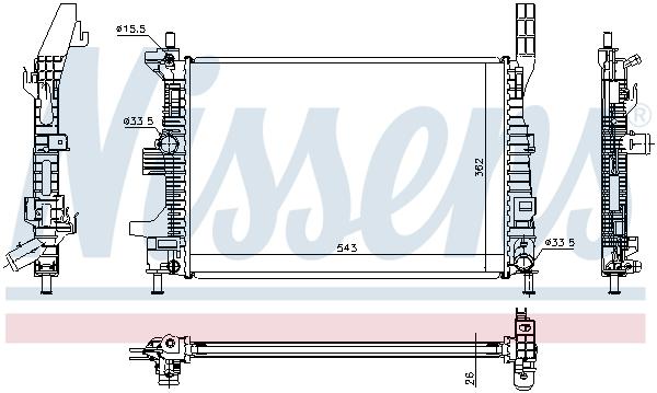 Slika NISSENS - 69238 - Hladnjak, hlađenje motora (Hlađenje)
